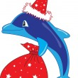 Royalty-Free Stock Vector Image: Christmas dolphin
