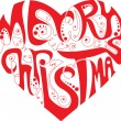 Merry Christmas heart - Stock Vector