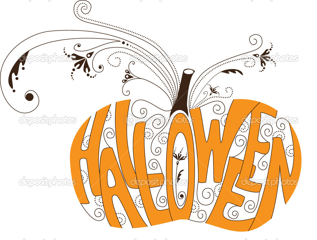 Halloween pumpkin with curly elements — ベクター素材ストック #1174348