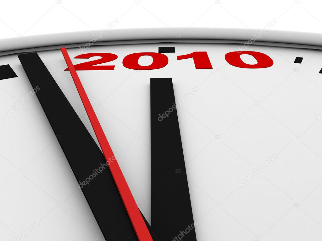 New Year's clock on white background. 3d render — Stock Photo #1034059