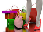 Bags, shopping and gifts — Stock Photo