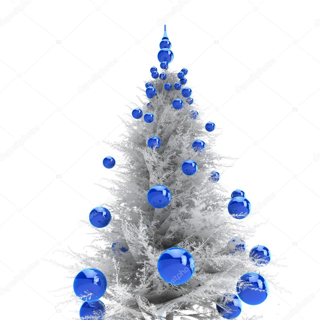 Light grey christmas tree with blue balls — Stock Photo #1059820