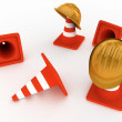 Hardhat and cones — 图库照片