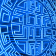 Blue round labyrinth — Stock Photo #1078137