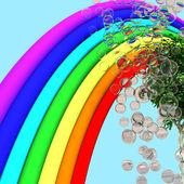 Rainbow, tree and soap bubbles — Stock Photo
