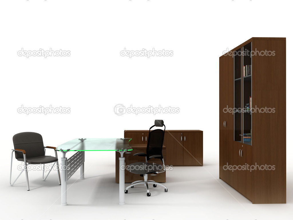 Office furniture set isolated on white background — Stock Photo #1444848