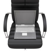Notebook in office armchair — Stock Photo