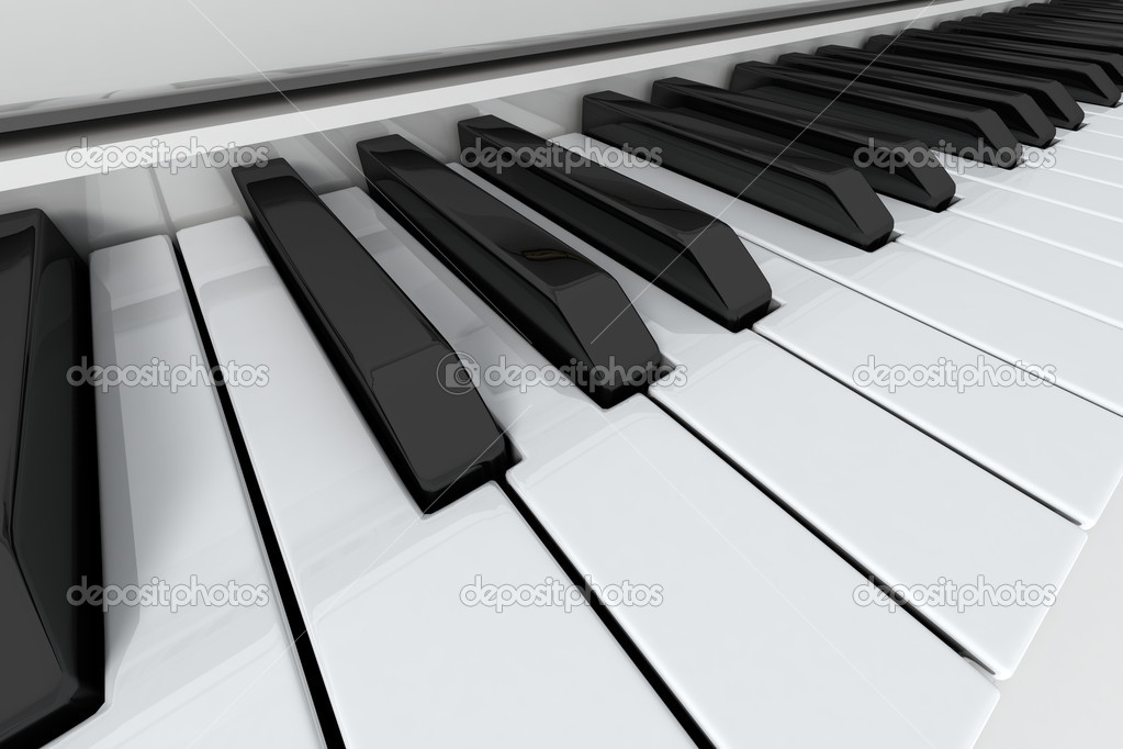 Grand piano keys on light background. Close-up view — Foto de Stock   #1935808
