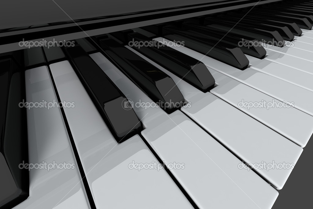 Grand piano keys on light background. Close-up view — Stock Photo #2261827