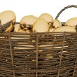 Basket with golden eggs — Stock Photo