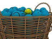 Basket with smileys — Stock Photo