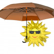 Stock Photo: Cartoon sun with umbrella