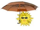 мультфильм солнца с зонтиком — Стоковое фото