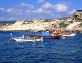Three fishing boats off the coast of Cyp — Stock Photo