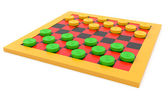 Checkers on white background — Stock Photo