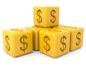 Yellow cubes with dollar sign — Stock Photo