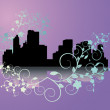 City on  lilac  background - Stock Photo