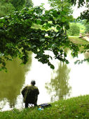 Fishing on the bank of a pond — Stock Photo