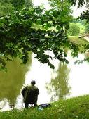 Rybaření na břehu rybníka — Stock fotografie