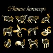 Stock Vector: Golden chinese horoscope