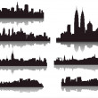 Stock Vector: Silhouettes of world cities