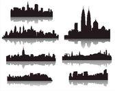 Silhouetten van steden ter wereld — Stockvector