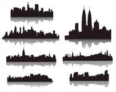 Silhouettes of world cities — Stockvector