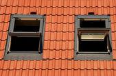Tegels op een dak met venster — Stockfoto