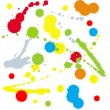 Set of four rainbow-colored ink splats — Stock Vector