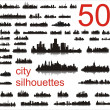 50 City silhouettes - Stock Vector