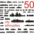 50 City silhouettes - Stockvectorbeeld