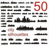 50 şehir silhouettes — Stok Vektör