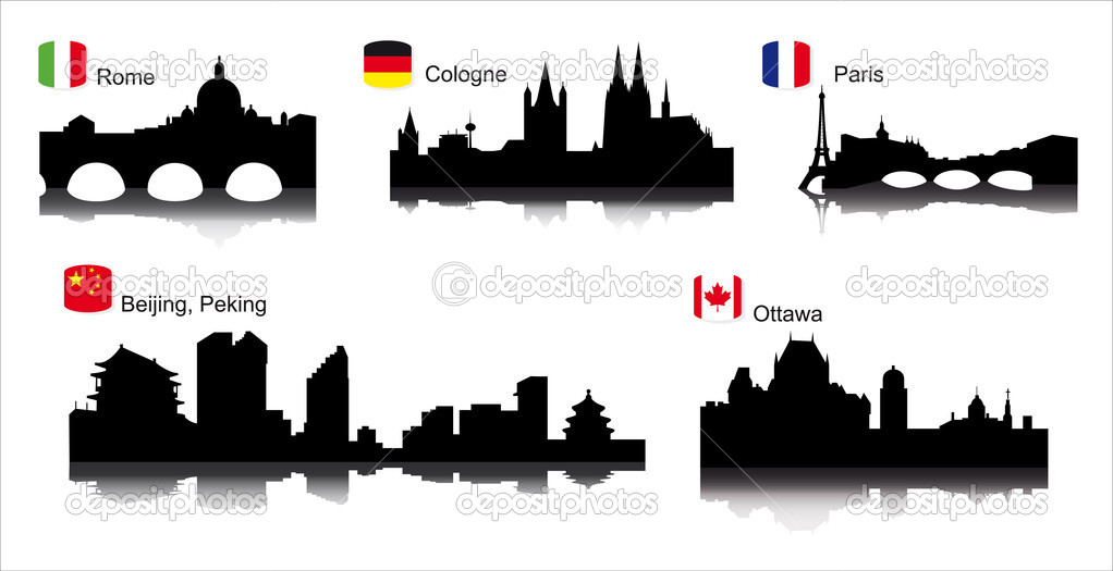 Detailed vector silhouettes of world cities Paris, Rome, Cologne, Ottawa — Stock Vector #2261817