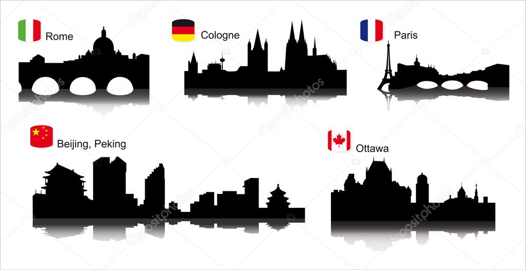  Detailed vector silhouettes of world cities Paris, Rome, Cologne, Ottawa  Image vectorielle #2261817