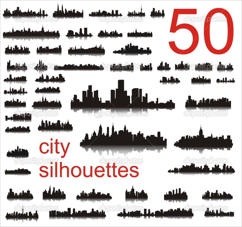 City silhouettes of the most popular cities of the world. Vector.  Stock Vector #2263957