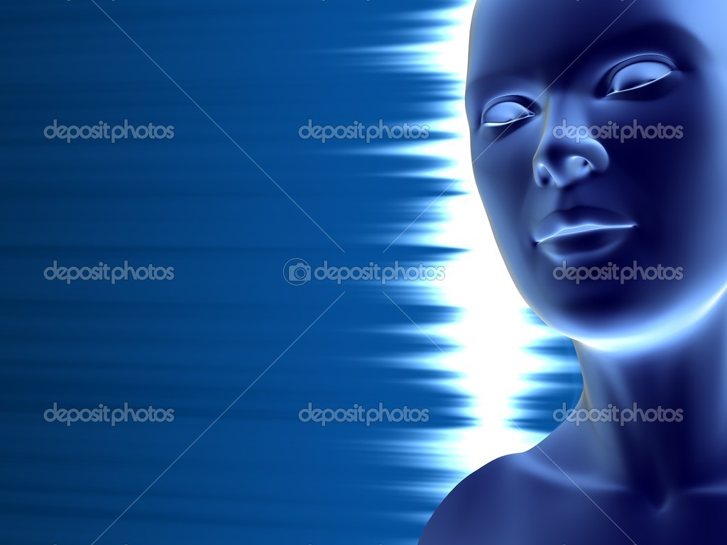Closeup of human face and neck reflecting light against blue background with place for text — Stock Photo #1045060