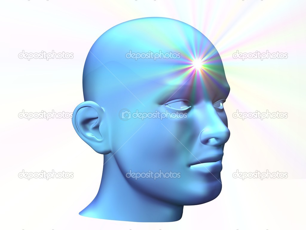3d close up of a man head with shine of thought on forehead — Stock Photo #1169072