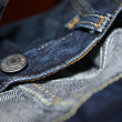 Blue jeans texture background color — Stock Photo