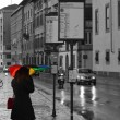 Waiting for the bus under the rain — Stockfoto