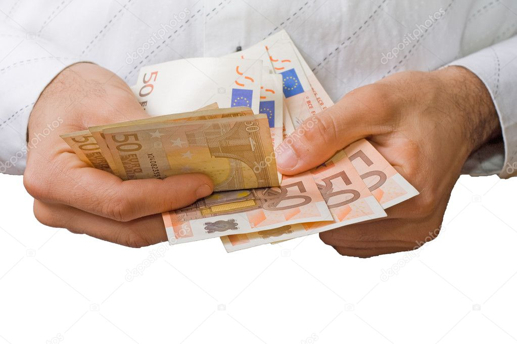 Man hands counting euro paper currency — Stock Photo #1030594