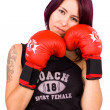 Young woman playing boxe — Stock Photo