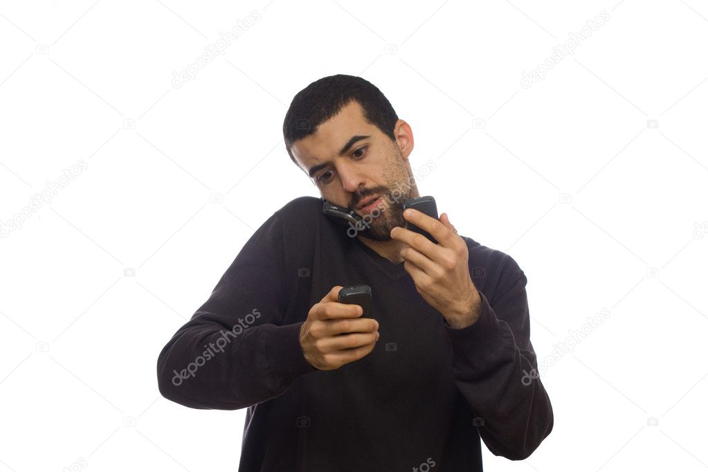 Man going crazy with lot of telephones — Stock Photo #1534935