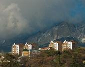 Cloud over small city in Crimea — Stock Photo