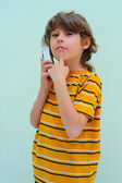 Teen Boy Relax By Talking On Wireless Telephone — Stock Photo