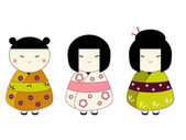 Japanese dolls — Stock Vector
