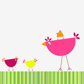 Birds' family — Stock Vector