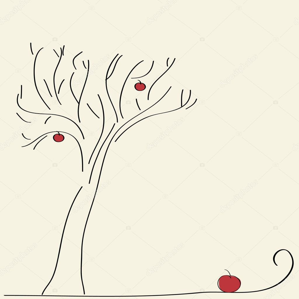 Hand drawn apple tree — Stock Vector #1034656