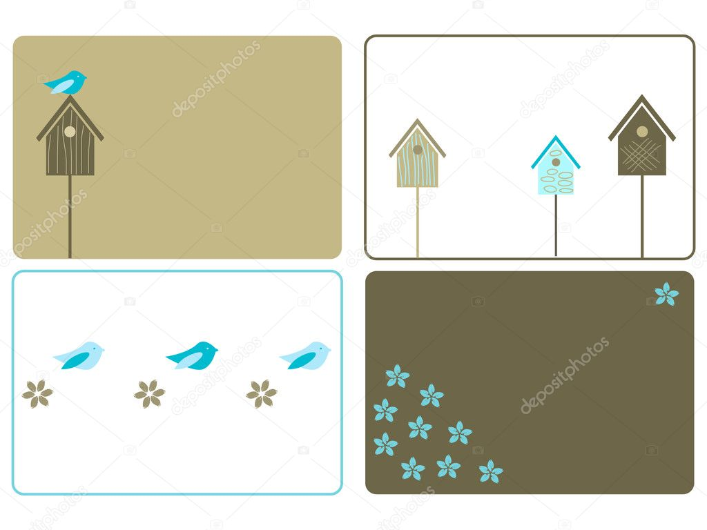 Set of four birdhouses designs — Stock Vector #1034816