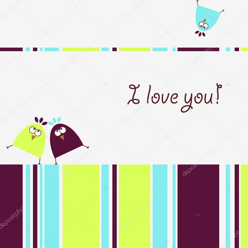 Funny little birds in love. Greeting card template. — Stock Vector #1034902