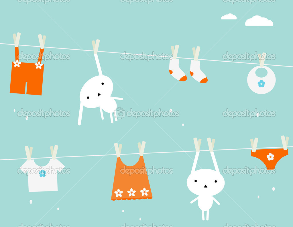 Cute baby clothes and two bunnies drying on fresh air. — Stock Vector #1035050